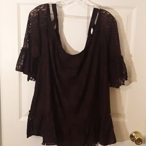 EUC Lane Bryant Blouse plus size 26/28w  Burgundy